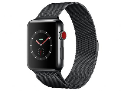 اپل واچ سری 3 مدل Apple Watch 38mm GPS+Cellular Space Black Stainless Steel Case Space Black Milanese Loop