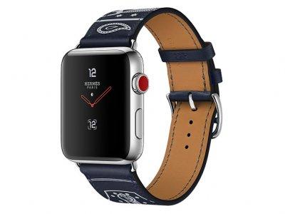 اپل واچ سری 3 مدل Apple Watch 38mm GPS+Cellular Stainless Steel Case Hermes Marine Gala Leather
