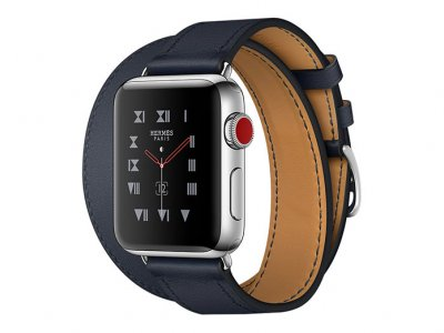 اپل واچ سری 3 مدل Apple Watch 38mm GPS+Cellular Stainless Steel Case Hermes Indigo Swift Leather Double Tour