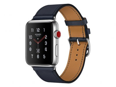 اپل واچ سری 3 مدل Apple Watch 42mm GPS+Cellular Stainless Steel Case Hermes Indigo Swift Leather Single Tour
