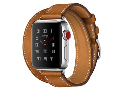 اپل واچ سری 3 مدل Apple Watch 38mm GPS+Cellular Stainless Steel Case Hermes Fauve Barenia Leatherrd Double Tour
