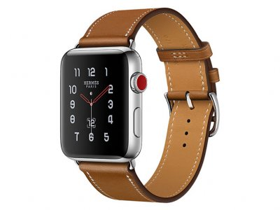 اپل واچ سری 3 مدل Apple Watch 42mm GPS+Cellular Stainless Steel Case Hermes Fauve Barenia Leather Single Tour