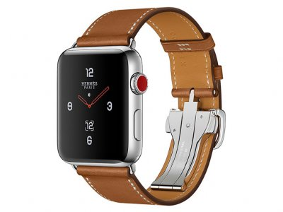 اپل واچ سری 3 مدل Apple Watch 42mm GPS+Cellular Stainless Steel Case Hermes Fauve Barenia Leather Single Tour Deployment Buckle