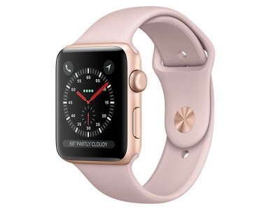 اپل واچ سری 3 مدل Apple Watch 42mm GPS Gold Aluminum Case Pink Sand Sport Band