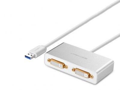 مبدل یو اس بی به دی وی آی دو پورت یوگرین Ugreen 40246 USB 3.0 to Dual DVI Multi-Display Adapter