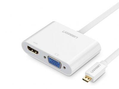 مبدل میکرو اچ دی ام آی به اچ دی ام آی و وی جی ای یوگرین Ugreen MM115 Micro HDMI to HDMI+VGA Adapter