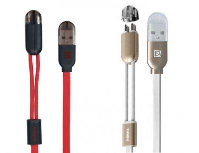 کابل شارژ و انتقال داده دو سر لایتنینگ و میکرو یو اس بی ریمکس Remax RC-025T Magnet Lightning And Micro USB 2 in 1