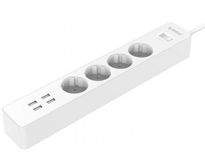 محافظ و چند راهی برق و شارژر 4 پورت اوریکو Orico 4 AC with 4 USB Charging Port OSC-4A4U-EU