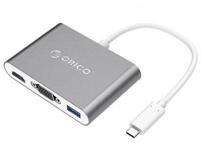 هاب تایپ سی به وی جی ای و اچ دی ام آی اوریکو Orico Type-C to VGA/HDMI/Type-C/USB3.0-A Adapter RCHV