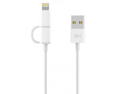 کابل شارژ و انتقال داده دو سر شیائومی Xiaomi ZMI 2 in 1 Cable 1m