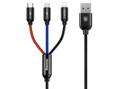 کابل سه سر بیسوس Baseus Three Primary Colors 3 in 1 Cable