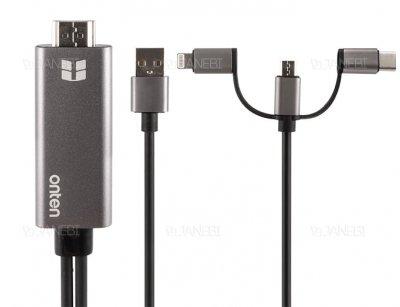 مبدل لایتنینگ/تایپ سی/میکرو یو اس بی به اچ دی ام آی Onten Lightning/Micro USB/USB-C to HDMI