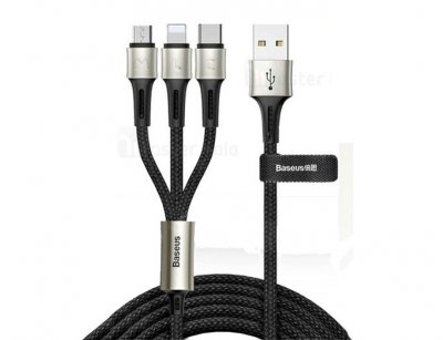 کابل شارژ سه سر بیسوس Baseus Caring 3 in 1 Cable 1.2m