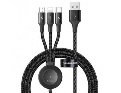 کابل سه سر و شارژر اپل واچ وایرلس بیسوس Baseus Star Ring 4in1 Wireless Charger Cable 1.2m