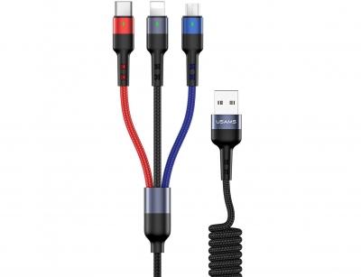 کابل شارژ سه سر یوسامز Usams U26 3IN1 Spring Charging Cable 1.5m
