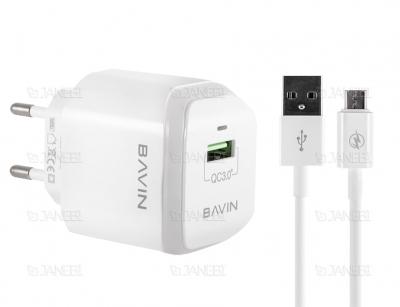 شارژر دیواری سریع و کابل میکرو یو اس بی باوین Bavin PC359Y Micro USB Charger