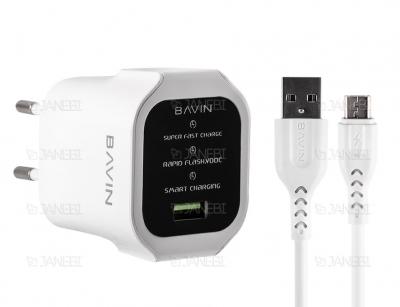 شارژر دیواری سریع و کابل میکرو یو اس بی باوین Bavin PC396Y Micro USB Charger