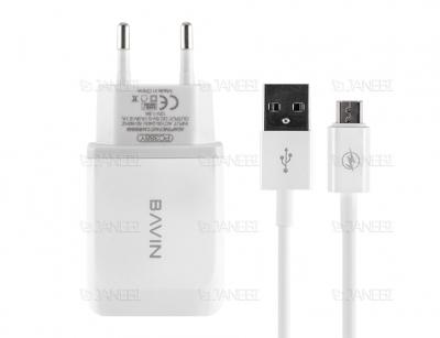 شارژر دیواری سریع و کابل میکرو یو اس بی باوین Bavin PC388Y Micro USB Charger