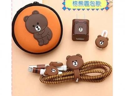 پک کیف و محافظ کابل شارژ آیفون خرس قهوه ای Cover Charger Protector Brown bear