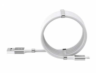 کابل شارژ و انتقال داده لایتنینگ راک Rock Magnetic Silicone Lightning Cable 90CM