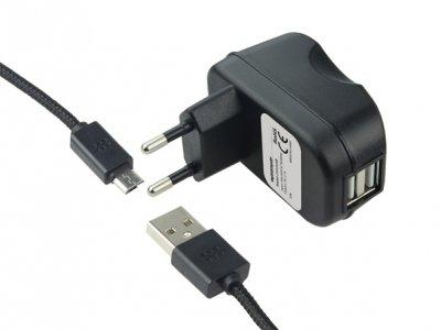 شارژردیواری دو پورت 2.1A با کابل میکرو USBمارک Promate