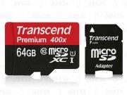 رم میکرو اسدی 64 گیگابایت Transcend Class 10 Premium 400X