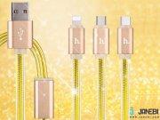 جانبی کابل سه پورت هوکو Hoco UPL12 One Pull Three Charging Cable