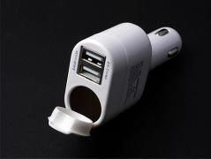 شارژر فندکی AX با 2 پورت USB و سوکت فندک ماشین