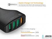 شارژر فندکی چهار پورت با قابلیت شارژ سریع آکی Aukey CC-T9 4-Port USB Car Charger with Quick Charge 3.0