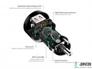 قیمت شارژر فندکی دوپورت با قابلیت شارژ سریع آکی Aukey CC-T8 Dual Port Car Charger with Quick Charge 3.0