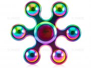 اسپینر فلزی شش پره ای توپی رنگین کمانی Fidget Spinner Metal Rainbow Balls