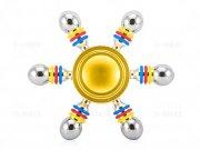 اسپینر فلزی شش پره ای رنگی