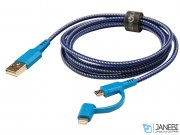 کابل شارژ سریع دو سر میکرو یو اس بی و لایتنینگ انرژیا Energea Nylotough Cable 2 In 1 Micro USB And Lightning 1.5M
