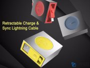 کابل شارژ لایتنینگ راک Rock Reetractable Charge & Sync Lightning Cable