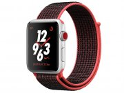 اپل واچ سری 3 مدل Apple Watch 42mm GPS+Cellular Silver Aluminum Case Bright Crimson/Black Nike Sport Loop