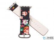 بند چرمی گلدار اپل واچ Apple Watch Flower Printing Leather Band 38/40mm