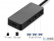 هاب یواس بی و کارتخوان یوگرین Ugreen CR132 3-Ports USB 3.0 Hub With Card Reader