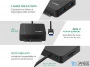 هاب یواس بی و کارتخوان یوگرین Ugreen US231 USB 3.0 To SATA3 Adaptor With Card Reader
