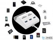 هاب یو اس بی 3 پورت و کارت خوان یوگرین Ugreen US156 USB 3.0 3-Ports Hub + Card Reader And Phone Stand