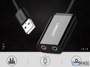 آداپتور کارت صدا یوگرین Ugreen 30143 USB 2.0 External 3.5mm Sound Card Adapter