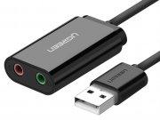 آداپتور کارت صدا یوگرین Ugreen USB 2.0 External 3.5mm Sound Card Adapter
