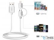 کابل شارژ و انتقال داده دو سر میکرو یو اس بی و لایتنینگ یوگرین Ugreen US165 Micro USB To USB Cable With Lightning Adapter 1M