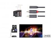 کابل انتقال صدای استریو یوگرین Ugreen 2RCA Male To 3.5mm Female Audio Cable 3M