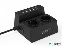 چند راهی 2 سوکت و 5 یو اس بی اوریکو Orico 2 AC with 5 USB Charging Port ODC-2A5U-EU