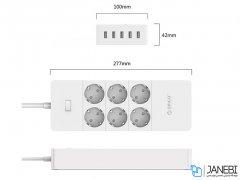 چند راهی 6 سوکت و 5 یو اس بی اوریکو Orico 6 AC with 5 USB Charging Port HPC-6A5U-EU