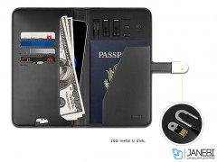پاور بانک و کیف چرمی و فلش مموری Zhuse Glory Series PB-032 10000mAh Power Bank And Leather Bag