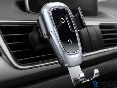 پایه نگهدارنده و شارژ بی سیم داخل خودرو بیسوس Baseus Metal Wireless Charger Gravity Car Mount