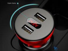 شارژر فندکی دو پورت بیسوس Baseus Shake Head Digital Display Car Charger