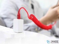 کابل تایپ سی  فست تلفنی راک Rock RCB0657 Type-C Stretchable Cable 1.5m