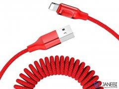 کابل لایتنینگ تلفنی راک Rock RCB0656 Lightning Stretchable Cable 1.5m